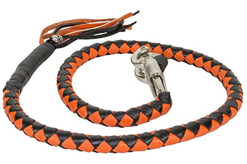 Motorcycle Length (Orange & Black Get Back Whip For Motorcycles, Clasp diameter 3/4