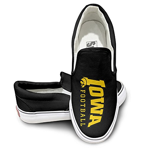 Hawk Footwear - Amone Iowa Hawkeye Slip-on Unisex Flat Canvas Shoes Sneaker Black 43