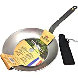 DeBuyer Mineral B Element Iron Frypan 10.2 Inch, Round with Neoprene Handle