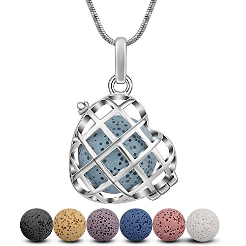 INFUSEU Lava Stone Aromatherapy Essential Oil Diffuser Locket Pendant Necklace with 6 PCS Lava Rock Beads for Women Jewelry Set (Heart Cross)