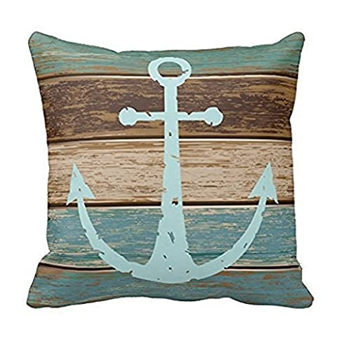 Decorbox Vintage Retro Nautical Anchor Wood Pattern 16x16 Inch Polyester Cotton Square Throw Pillow Case Decorative Durable Cushion Slipcover Home Decor Standard Size Accent Pillowcase Slip (Blue Theme Room)