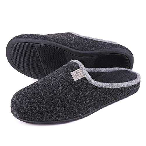 LongBay Men's Woolen Memory Foam Slippers Slip On Scuff...