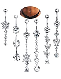 14G Stainless Steel Belly Button Rings Navel CZ Inlaid Body Jewelry Piercing Barbell