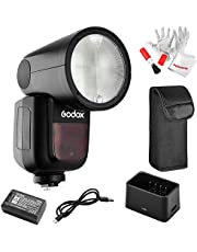 Godox V1-C Flash with Pergear Color Filters for Canon, 76Ws 2.4G TTL Round Head Flash Speedlight, 1/8000 HSS, 1.5 sec. Recycle Time, 2600mAh Lithium Battery, 10 Level LED Modeling Lamp