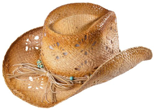 Scala Women's Tropical Trends By Dpc Beaded Band Straw Cowgirl Hat