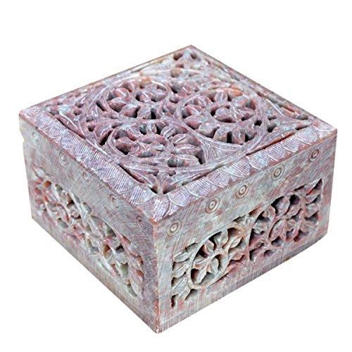 Hashcart Indian Artisan, Handmade & Handcrafted Stone Jewelry Box/Jewelry Storage Organizer/Trinket Jewelry Box/Gift Box with Traditional (Decorative Trinket Box)