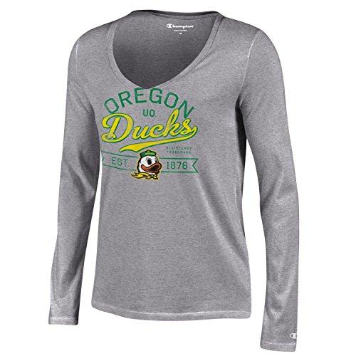 Ncaa Oregon Ducks Womens Champion University Long Sleeve V Neck T Shirt  Large  Gray