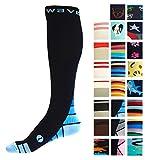 Compression Socks (1 pair) for Women & Men by Wave (Black & Blue, S/M)