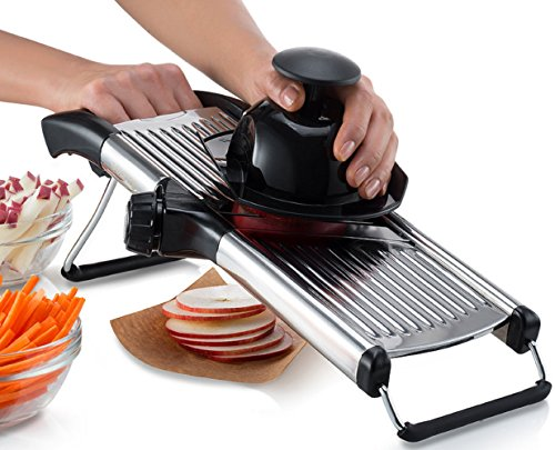 Gourmia GMS9105 Stainless Steel Mandoline Slicer Dial-Style Kitchen Slicer With Built in Adjustable Blades Fine to Thick Slice & Julienne Settings Mandolin Potato Slicer