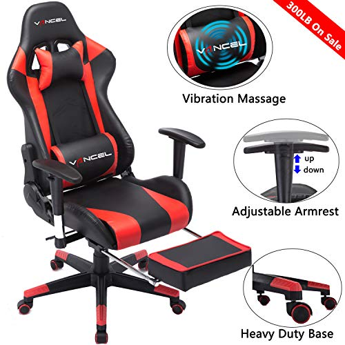 Gaming Chair Office Desk Chair High Back Computer Chair Ergonomic Adjustable Racing Chair Executive PC Chair with Headrest,Massager Lumbar Support & Retractible Footrest (Red)