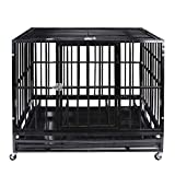 Heavy Duty Pet Dog Cage Strong Metal Crate Kennel Playpen w/Wheels&Tray (37'' Black)
