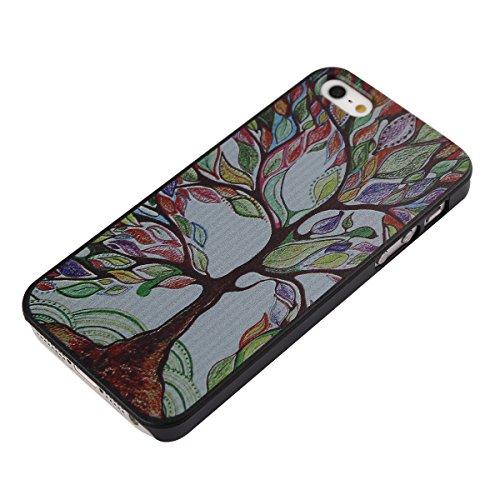 Voguecase® für Apple Iphone SE hülle,(Harte Rückseite) Hybrid Hülle Schutzhülle Case Cover (Großen Bunten Baum) + Gratis Universal Eingabestift