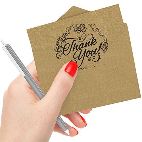 50 Count Krafty Thank You Cards with Envelopes & Free Pen: Best Note Card for Wedding, Graduation, Bridal and Baby Shower, Birthday and Christmas; Perfect for Natural, Vintage or an Eco-Themed Party - Choose Shower Set Finish