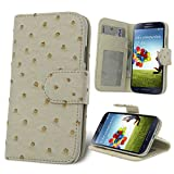 Celicious Notecase W White Ostrich PU Wallet Stand Case for Samsung Galaxy S4 I9500