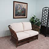 Riga Rattan Loveseat Couch Cushions Made in USA Delivered Fully Assembled