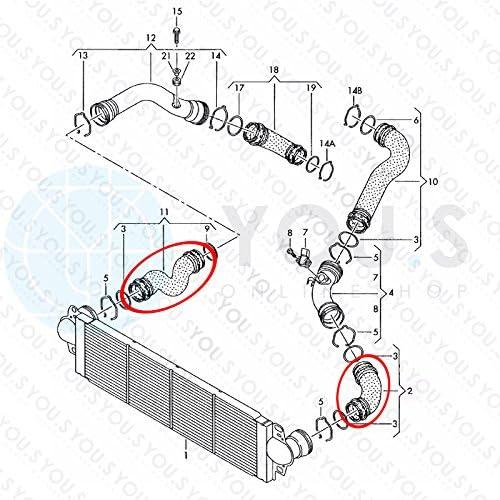 YOU.S Original 14463JD50D Ladeluftschlauch Innendurchmesser ca 45//54 mm