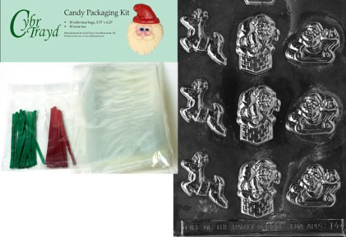Cybrtrayd MdK50C-C014 Santa-Reindeer Assortment Christmas Chocolate Mold with Chocolate Packaging Kit and Molding Instructions, Includes 50 Cello Bags, 25 Red and 25 Green Twist Ties