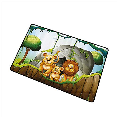 Axbkl Non-Slip Door mat Forest Lion Family in The Jungle Woods King Zoo Nursery Illustration W30 xL39 Country Home Decor Apricot Chocolate Hunter Green