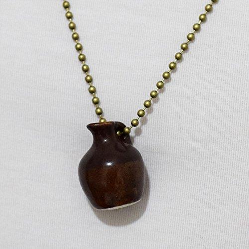 Primitive Ceramic Vase - Vintage Necklace Jewelry Porcelain Pottery in Miniature on Bronze (Miniature Pottery Vase)