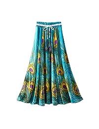 Inforin Women's Summer Beach Skirt Print Crew Neckline Skirt