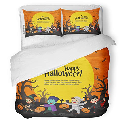 SanChic Duvet Cover Set Children Dressed in Halloween Fancy Dress to Go Decorative Bedding Set with Pillow Case Twin Size -