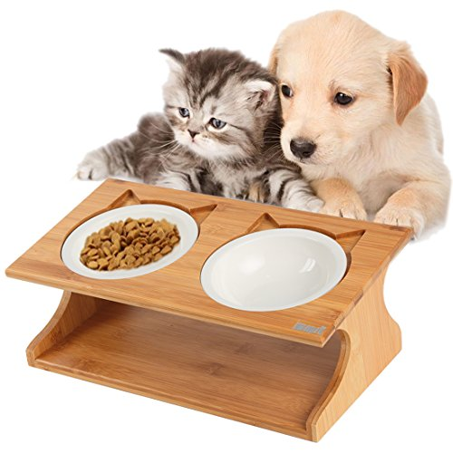 15° Tilted Platform Pet Feeder_ Solid Bamboo Stand with Ceramic Bowls – Elevated Cat Feeder Raised Cat (Elevated Comfort Feeder)