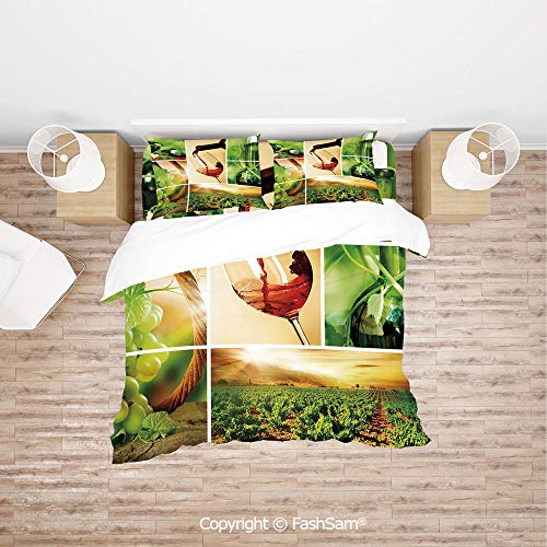 FashSam Duvet Cover 4 Pcs Comforter Cover Set Wine Tasting and Grapevine Collage Green Fresh Field Pouring Drink Delicious Decorative for Boys Grils Kids(Queen)