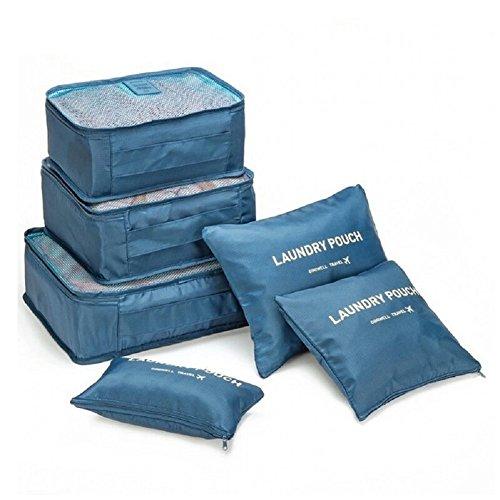 Clothes Storage Travel Luggage Organizer Pouch (Grey) Set of 6 - 7