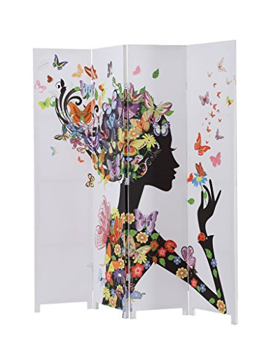 Legacy Decor 4 Panel Canvas Room Screen Divider Double Sided Floral Butterfly Design (Butterfly Panel)