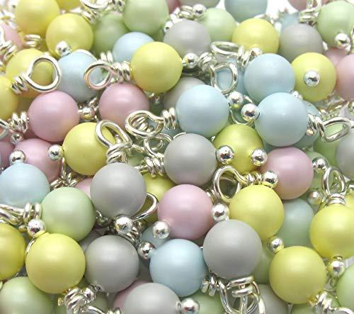 30 Swarovski Crystal Glass Pearl Dangles - 6mm Swarovski Pearl Bead Charms - Pastel Green Rose Blue ()