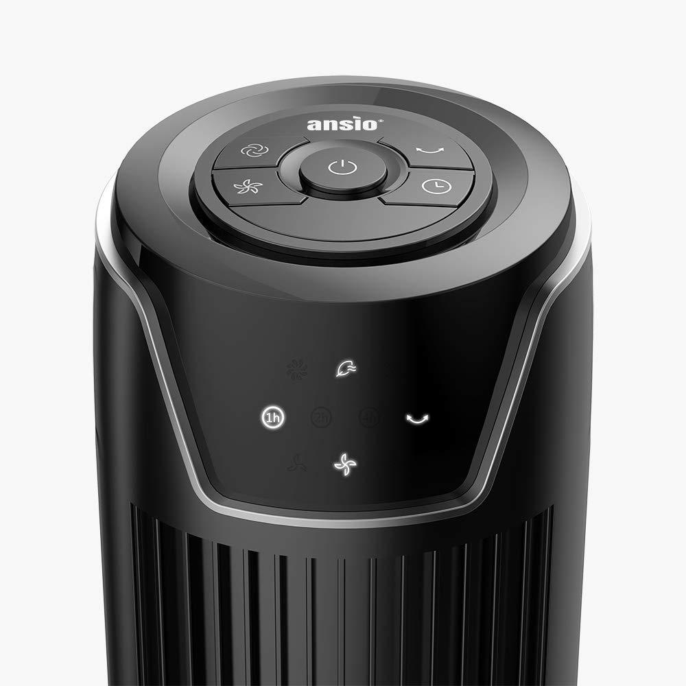 30 Zoll Grau Batterien NICHT im enthalten 1,75m Oszillierender Turmventilator mit Fernsteuerung S/äulenventilator 3-stufigem Windmodus mit 3 Drehzahlen und langem Kabel 2 Jahre Garantie