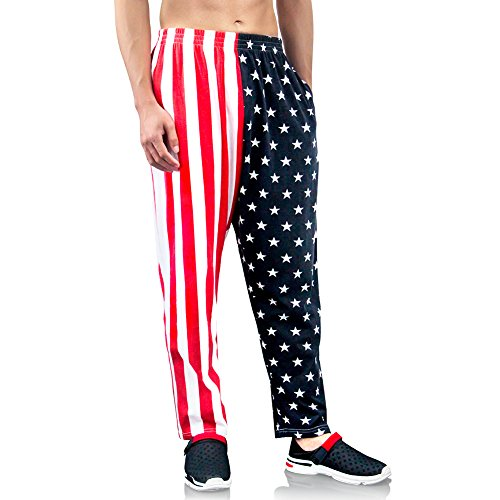 American Flag Workout Pants - Bopika Men 's Beach Pants American Flag Pants Cargo Short (L)