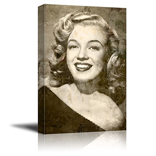 wall26 Canvas Wall Art - Realistic Sexy Vintage Photo of Marilyn Monroe on Grunge Background - Giclee Print Gallery Wrap Modern Home Decor Ready to Hang - 12x18 inches