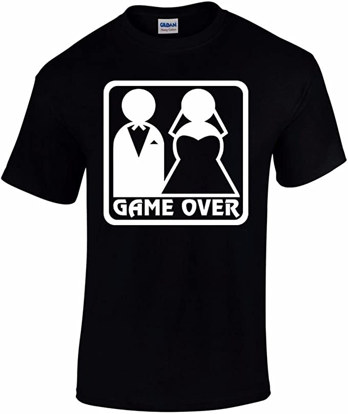 Game Over Women/'s T-Shirt Funny Wedding Groom Bride Marriage