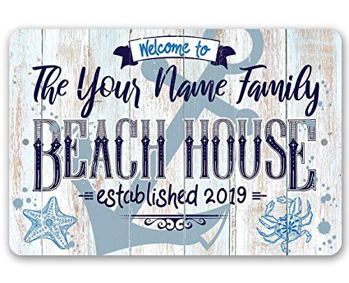 (Personalized Beach House Sign - Durable Metal Sign - 8