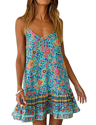 - Qearal Women's Summer Pattern Boho Spaghetti Strap Backless Tube A-Line Flower Printing Mini Dress with Pockets Green l