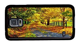 Hipster protective Samsung S5 Case beautiful autumn PC Black for Samsung S5