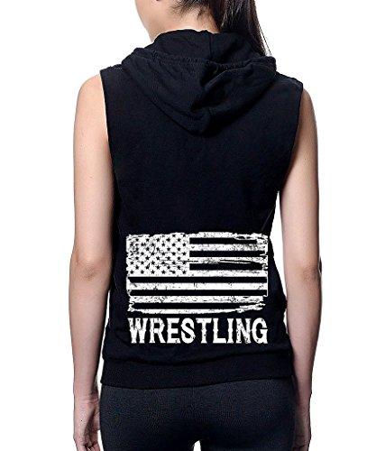 Interstate Apparel Junior's Wrestling American Flag Black Sleeveless Fleece Zipper Hoodie Small Black by Interstate Apparel