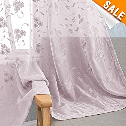 Embroidered Floral Sheer Curtain Panels for Living Room 95 inches Long Violet Rod Pocket Lilac Rustic flower Embroidery Bedroom Voile Drapes 2 Panels Purple