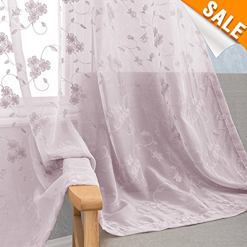 Floral Embroidery Sheer Curtain Panels for Bedroom 84 inch Length Violet Flower Embroidered Rustic Voile Window Curtains Rod Pocket Lilac Living Room Drapes 2 Panels, Purple