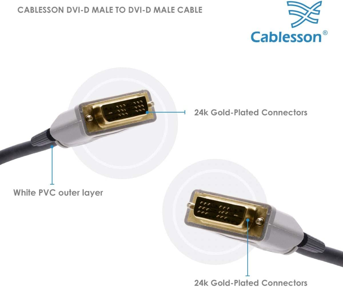 Single link 19 pin monitor and projector Broadband Cablesson DVI to DVI cable for TV DVI-D male to DVI-D male with gold-plated connectors HDTV resolutions up to 1920x1080 10m. Black