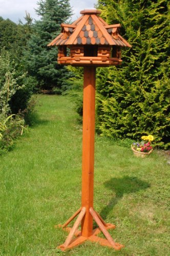 Luxury Bird House plus Stand made of treated Solid Wood 1.56 m