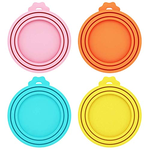 Petsvv 4 Pack Pet Food Can Covers Universal Silicone Can Lids - One Size fit 3 Standard Size Dog and Cat Can Tops (Mix Color 2)