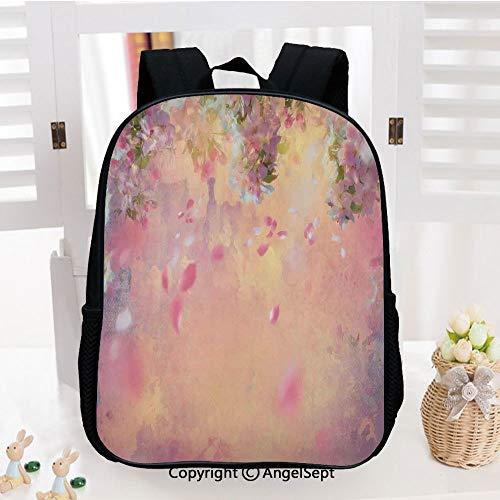 - Casual Style Lightweight Backpack Cherry Tree Blossom Cheerful Childish Fun Cartoon Art Garden in Sakura Season School Bag Travel Daypack,Pink Green Black
