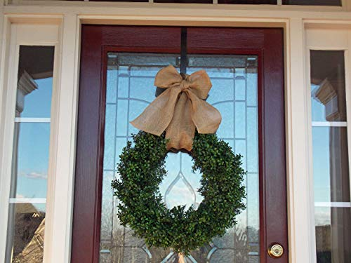 Artificial Faux Boxwood Wreath for Front Door Porch Spring Springtime Summer Summertime All Season All Weather Handmade Farmhouse Home Decor 24