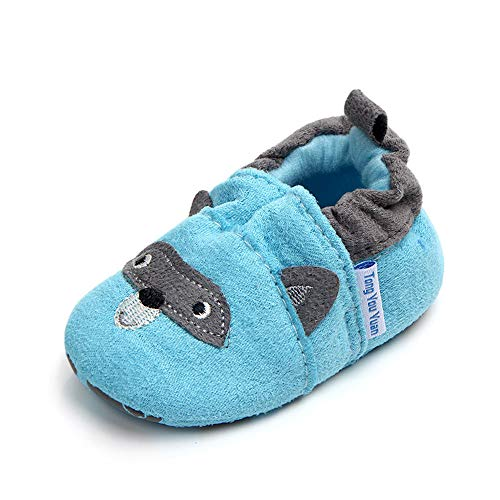 Save Beautiful Cute Cartoon Infant Unisex Baby Warm Cotton Anti-Slip Soft Sole First Walkers Shoes (12-18 Months, Blue Bear)]()