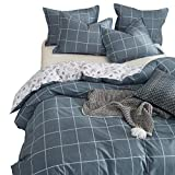 Joyreap 3 Pieces Duvet Cover Set, 100% Cotton, Soft Comfortable Hotel Quality Bedding Sets, Simple and Modern Style, Hypoallergenic and Durable (Grid,Navy,King)