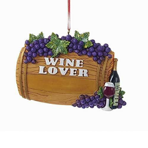 (Kurt Adler Wine Lover Barrel with Grapes and Wine Bottle Christmas Tree Ornament A1678 New)