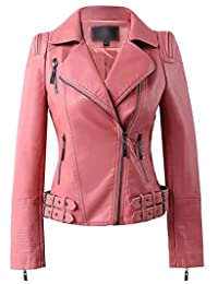 Benibos Womens Faux Leather Zip Up Moto Biker Jacket With Many Details