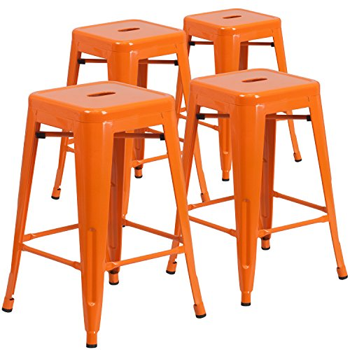 Flash Furniture 4 Pk. 24'' High Backless Orange Metal Indoor-Outdoor Counter Height Stool with Square Seat